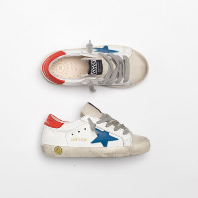 Superstar sneakers with blue star and red heel tab