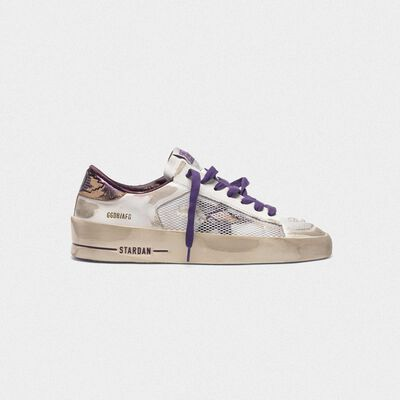 Distressed white and purple Stardan LTD sneakers