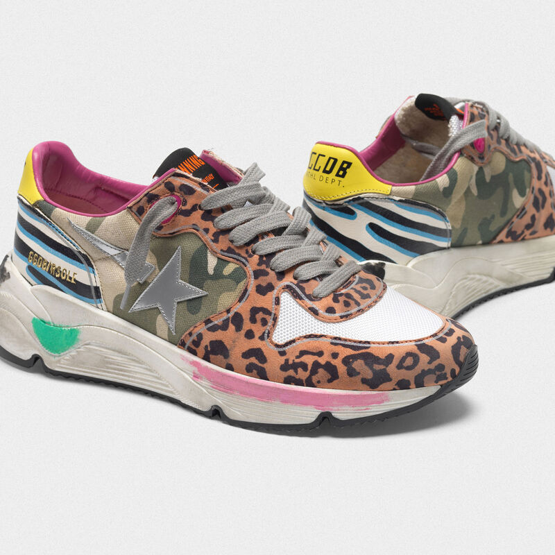 Golden Goose - Sneakers Running Sole con tomaia animalier mix in  image number null