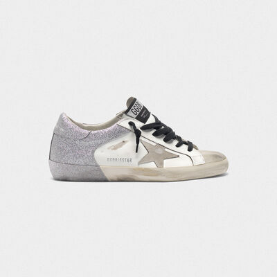 Superstar sneakers with glitter back and double foxing