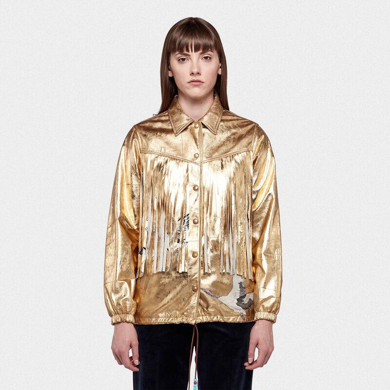 best website a7820 e2979 Giacca Ayumi in pelle dorata con patch e frange