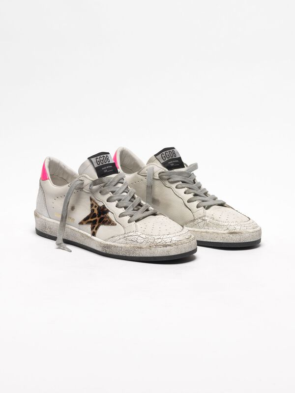 Golden Goose - White Ball Star sneakers in leather with leopard-print star in  image number null