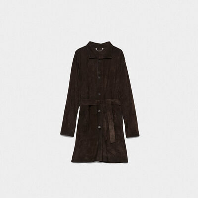 Tadashi coat in brushed suede leather