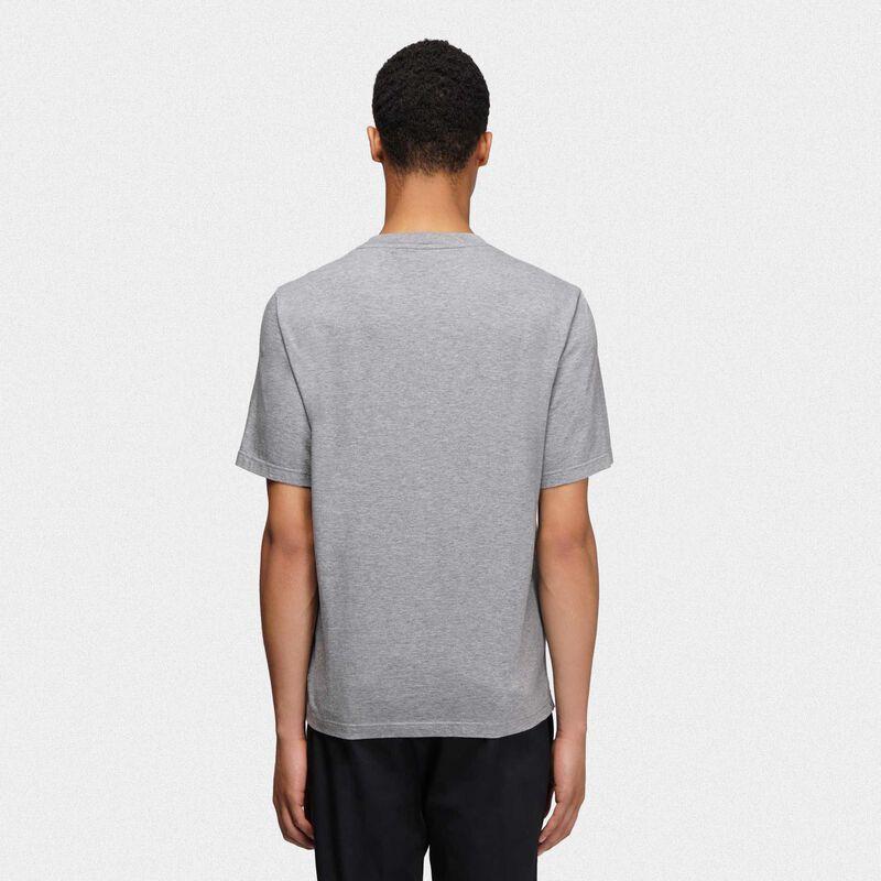 Golden Goose - Melange grey Golden T-shirt with vintage print in  image number null