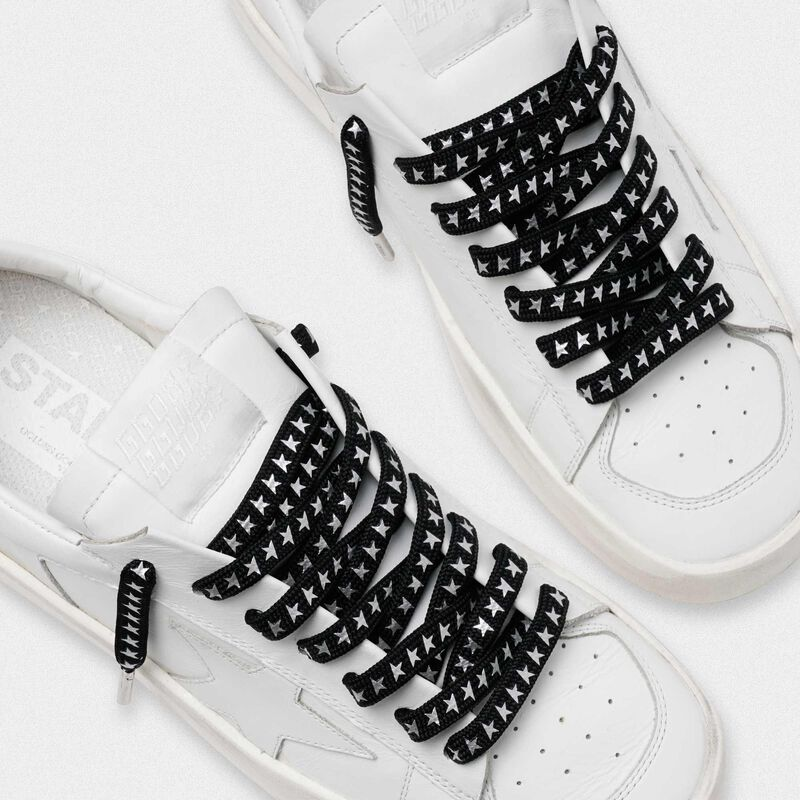 Golden Goose - Men's black laces with silver stars in  image number null