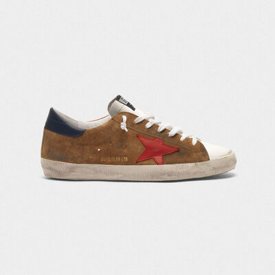 Superstar sneakers in suede with a red star