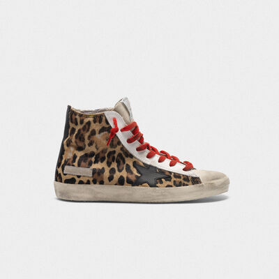 Francy sneakers in leopard-print pony skin