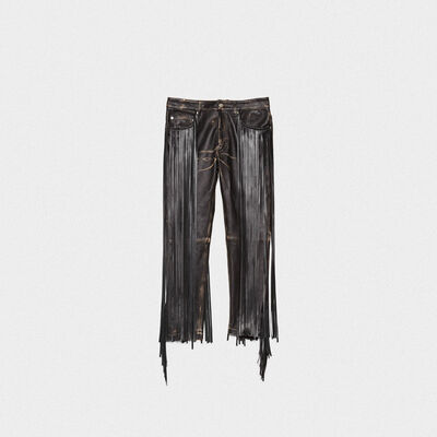 Jolly trousers in vintage-look nappa leather with fringe
