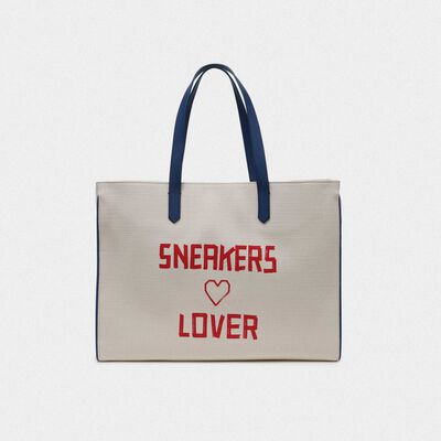 Borsa California East-West con stampa Sneakers Lover rossa