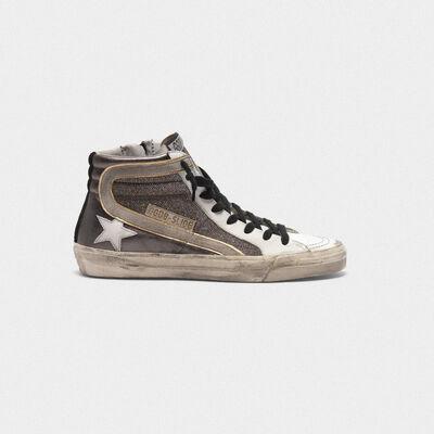 Sneakers Slide in pelle metallizzata e inserto shimmer