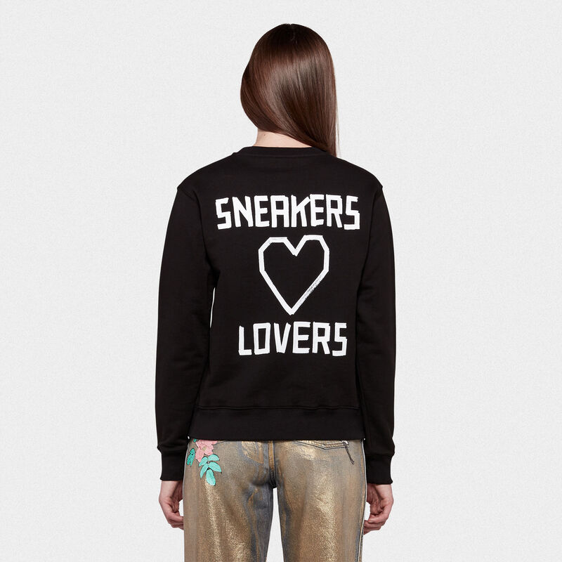 Golden Goose - Black Higanbana sweatshirt with Sneakers Lovers print on the back in  image number null