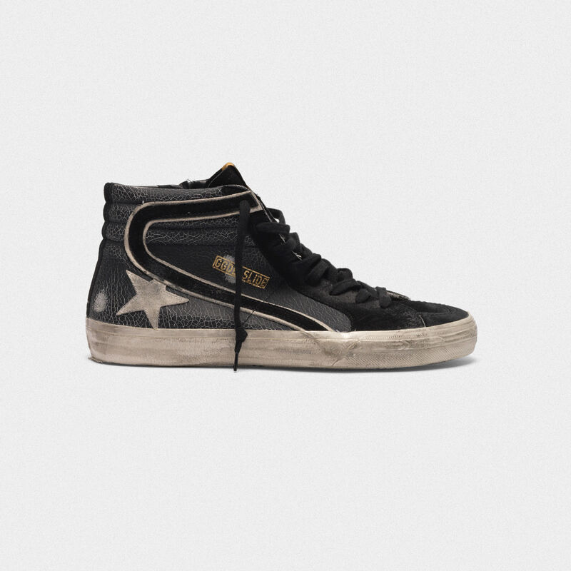 Golden Goose - Sneakers Slide in pelle effetto cracklé in  image number null