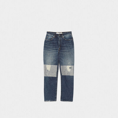 Judy jeans in cotton denim with vintage look patches