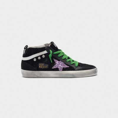 Mid-Star sneakers in damask velvet with glittery star