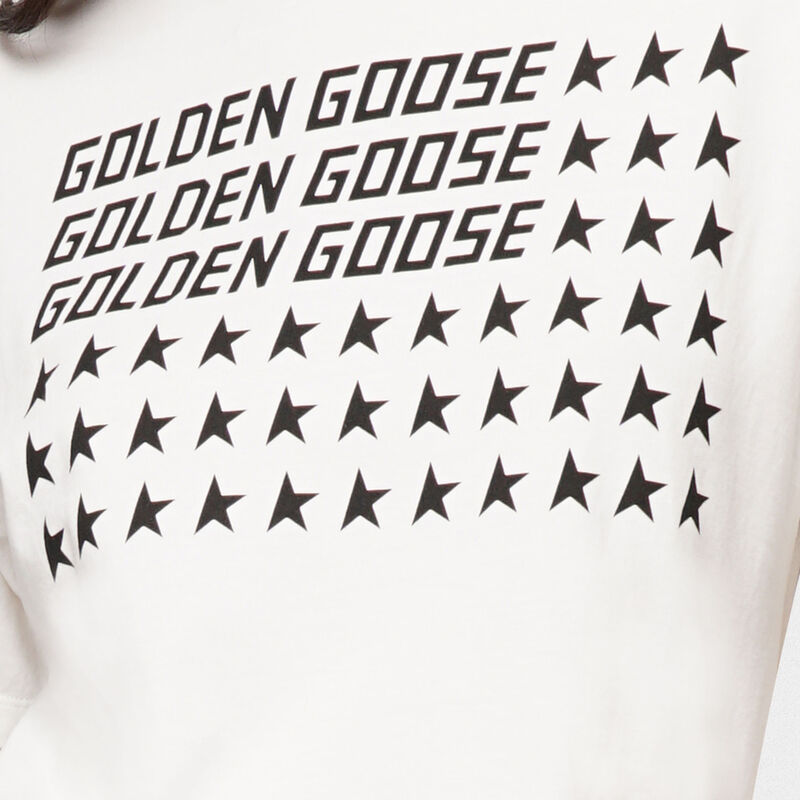 Golden Goose - T-shirt Golden bianca con stampa flag in  image number null