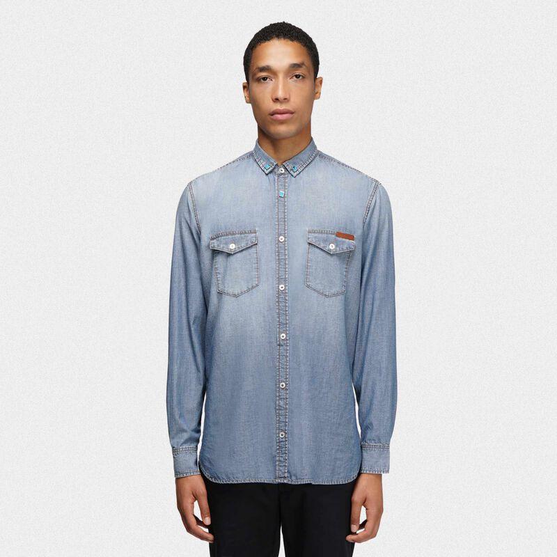 Golden Goose - Austin shirt in cotton denim in  image number null