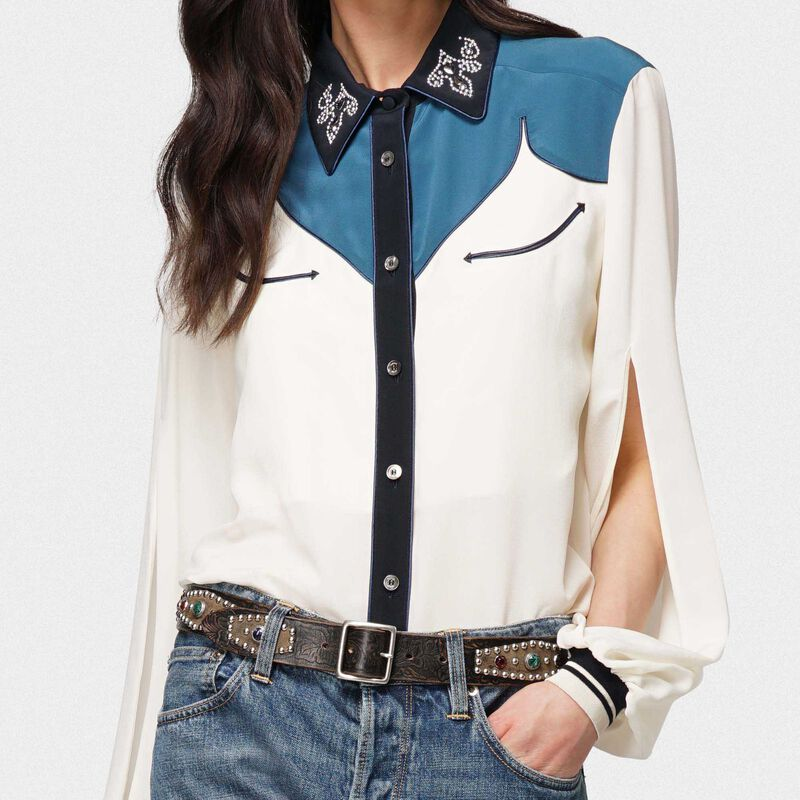 Golden Goose - Two-tone Madelyn silk shirt with studs on collar in  image number null