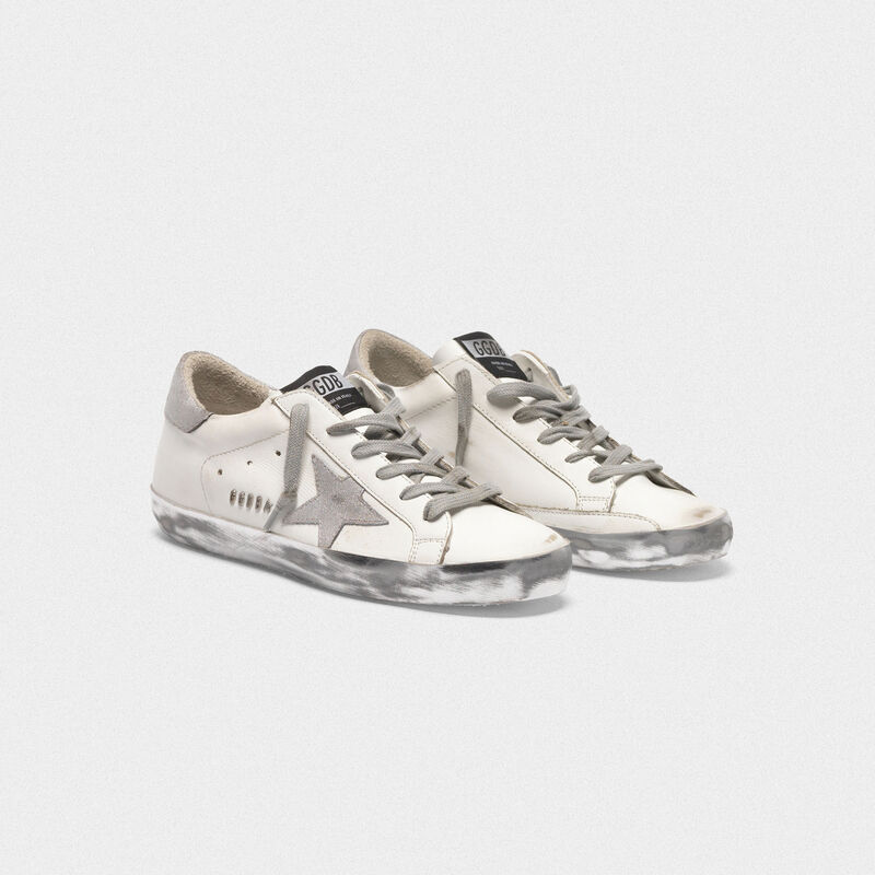 Golden Goose - Superstar sneakers with silver sparkle foxing and metal stud lettering in  image number null