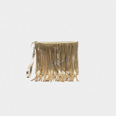 XL Toast bag in leather with suede fringe