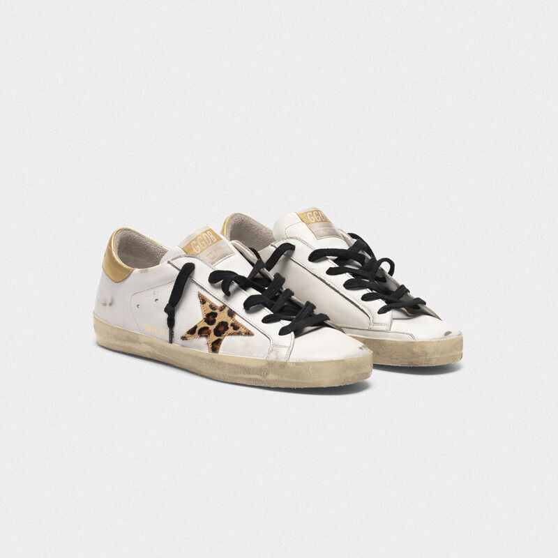 Golden Goose - Superstar sneakers with leopard print star in  image number null