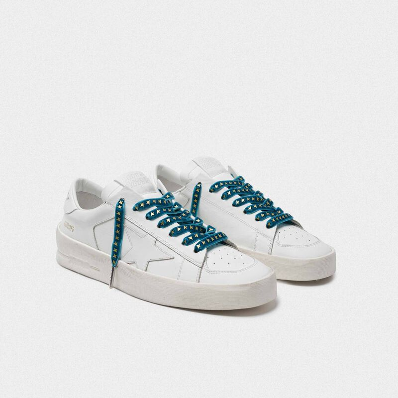Golden Goose - Women's green velvet laces with gold stars in  image number null