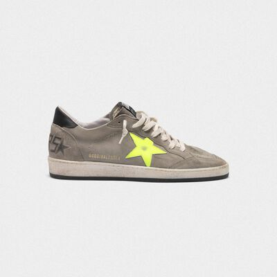 Ball Star sneakers in grey suede with dayglow star