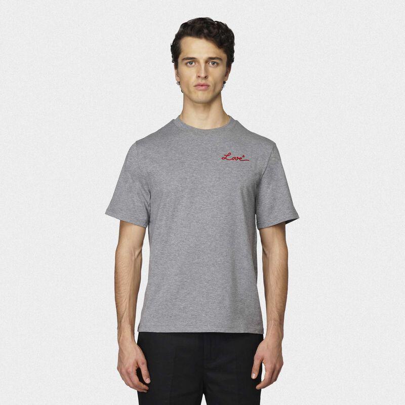 Golden Goose - T-shirt Golden grigia con ricamo Love in  image number null