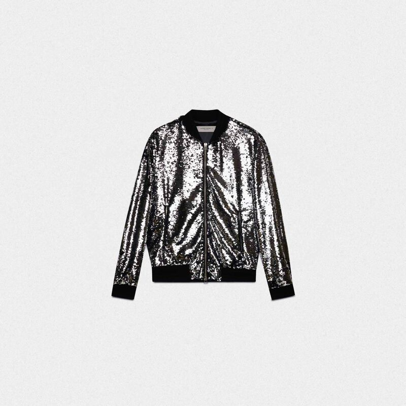 Golden Goose - Joshua bomber jacket with silvery sequins in  image number null